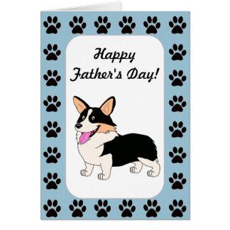 Happy Father's Day Tricolor Corgi Card