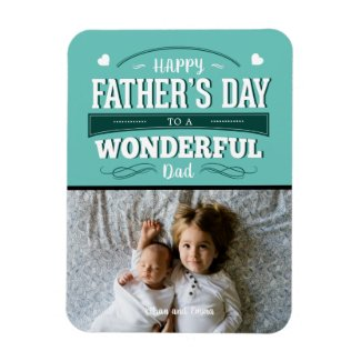 Happy Father's Day Typography Custom Photo Magnet