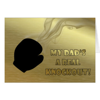 Happy Father's Day with boxing glove knockout Dad Greeting Card