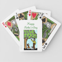 Happy Father's Day with Dad and Daughter Bicycle Playing Cards