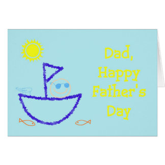 Happy Father's Day with dad fishing on boat Greeting Card