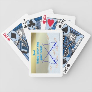 Happy Father's Day with fishing rods and fish Bicycle Poker Deck