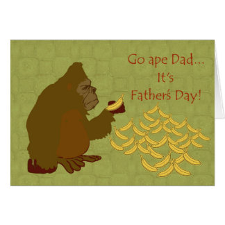 Happy Father's Day with gorilla eating bananas Greeting Card