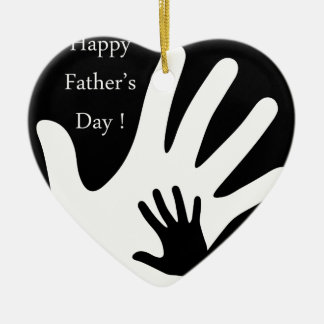Happy Fathers day with hands of father and child Ceramic Ornament