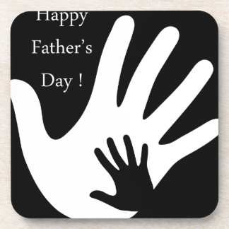Happy Fathers day with hands of father and child Coaster