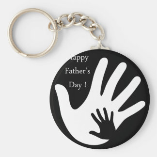 Happy Fathers day with hands of father and child Keychain