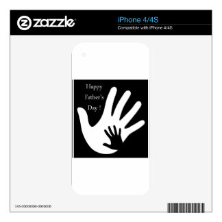Happy Fathers day with hands of father and child Skin For iPhone 4