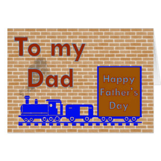Happy Father's Day with train on train tracks Greeting Card