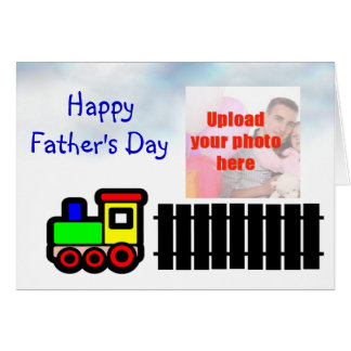 Happy Father's Day with train to Dad add photo Greeting Card