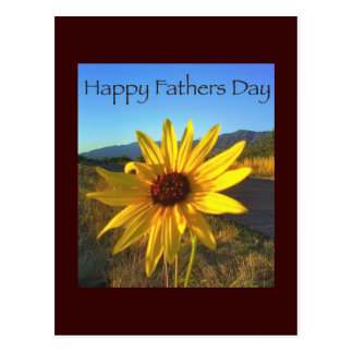Happy Fathers Day with Yellow WildFlower Postcard