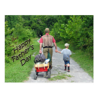 Happy FathersDay/Dad & son returning from fishing Postcard