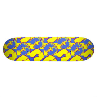 Happy feet blue and yellow skate board