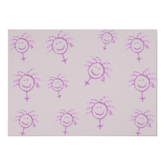 Happy feminist woman symbol face with curly hair 5x7 paper invitation card