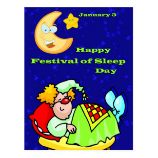 Happy Festival of Sleep Day January 3 Postcard