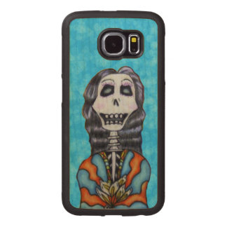 Happy Festive Colorful Day of Dead Lady Flowers Wood Phone Case