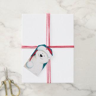 Happy Festive Polar Bear with Santa Hat Gift Tags