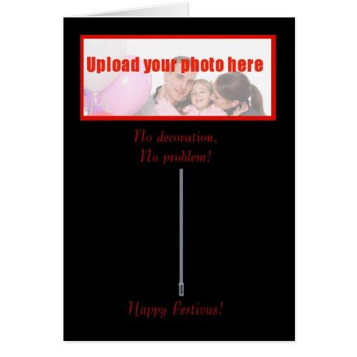 Happy Festivus custom photo with festivus pole Greeting Cards