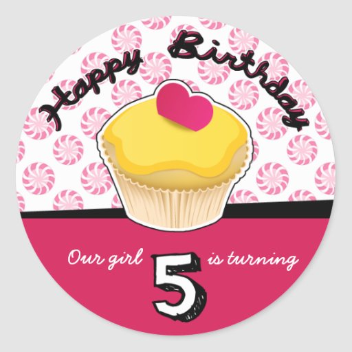 Happy Fifth (5th) Birthday Cupcake Stickers!