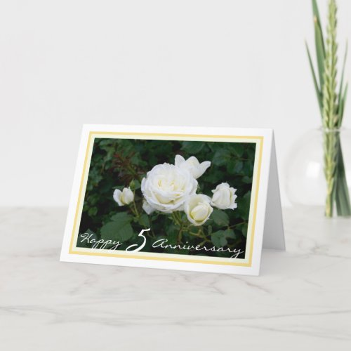 Happy Fifth Wedding Anniversary 5 White Roses Card