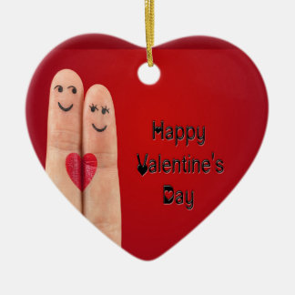 Happy Fingers Valentines Day Ceramic Ornament