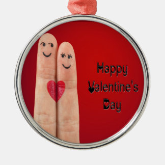 Happy Fingers Valentines Day Metal Ornament