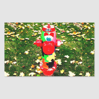 Happy Fire Hydrant Rectangular Sticker