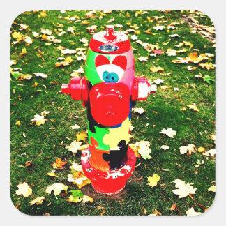 Happy Fire Hydrant Square Sticker