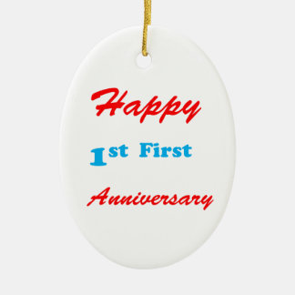 HAPPY First 1st ANNIVERSARY Blessings Celebrations Double-Sided Oval Ceramic Christmas Ornament