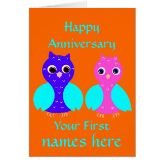 Happy First Anniversary Cute Owl Couple Customize Card