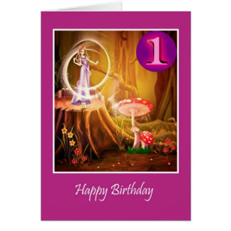 Happy first Birthday for girl with fairy Greeting Card