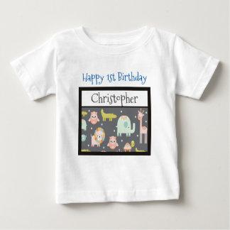 Happy First Birthday Safari Animals Pattern Baby T-Shirt