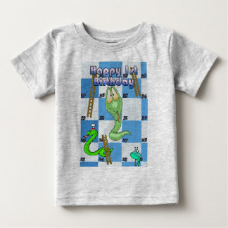 Happy first birthday, snakes and ladders t shirt