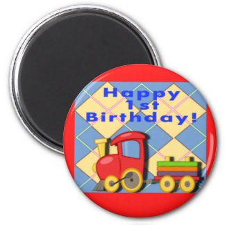 Happy First Birthday Train Magnet