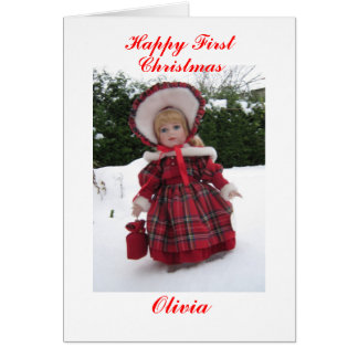 Happy first Christmas Olivia Greeting Card