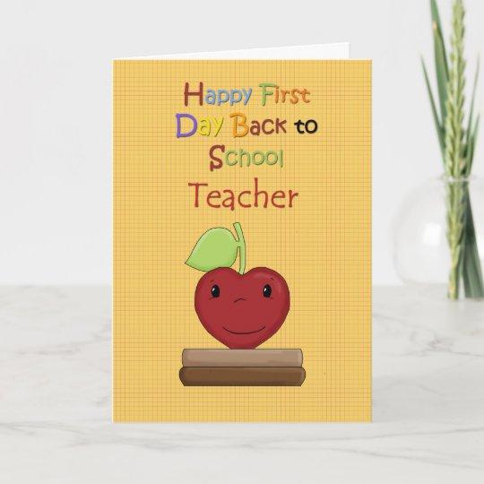 Proud teacher cards zazzle happy first day back to school teacher card m4hsunfo