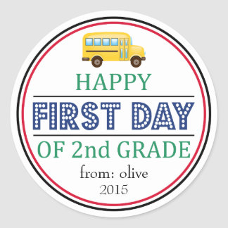 Happy First Day Of 2nd Grade School Bus Sticker