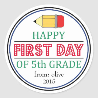 Happy First Day Of 5th Grade Pencil Sticker
