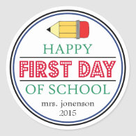 Happy First Day Of School Pencil Sticker (Red)