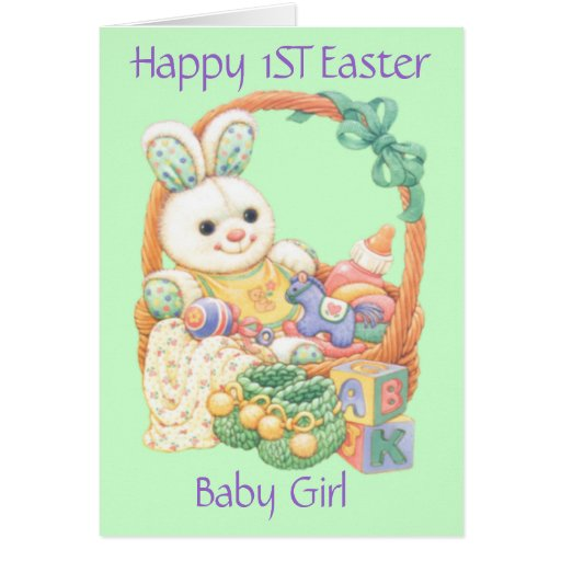 Happy First Easter Baby Girl (Customizable) Card | Zazzle
