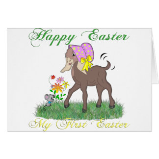 Happy First Easter Goat Greeting Card
