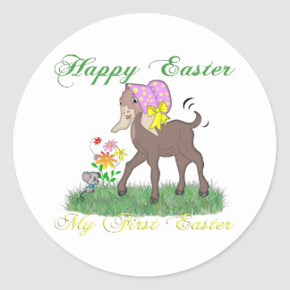 Happy First Easter Goat Classic Round Sticker