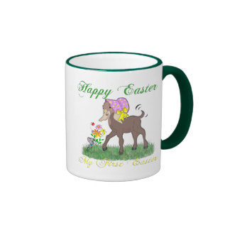 Happy First Easter Goat Ringer Coffee Mug