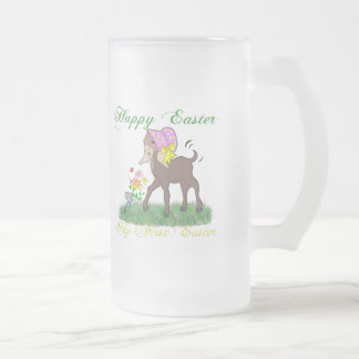 Happy First Easter Goat 16 Oz Frosted Glass Beer Mug