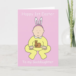 For goddaughters easter gifts on zazzle happy first easter goddaughter holiday card negle Images