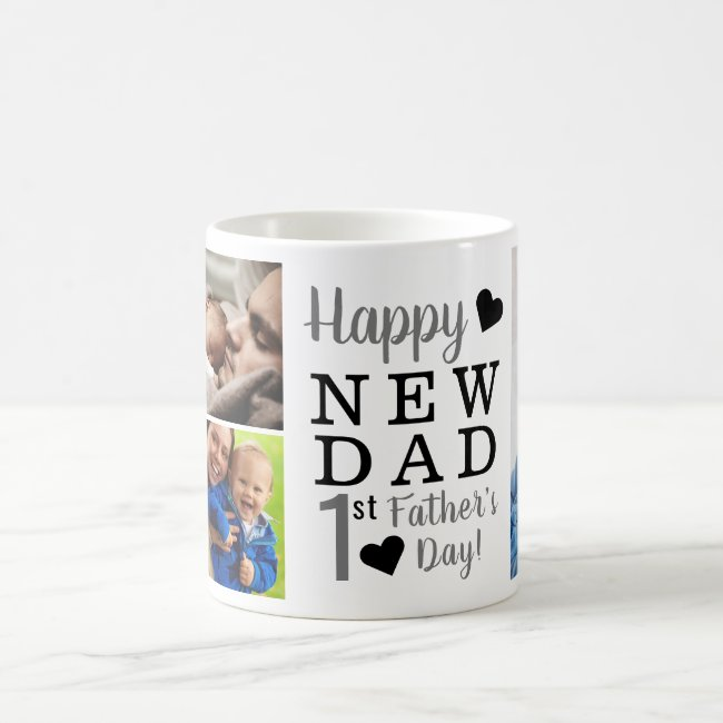 Happy First Father's Day 5 Photo Collage Coffee Mug