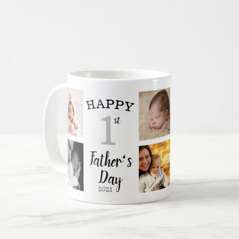Happy First Father's Day 8 Photo Collage Coffee Mug