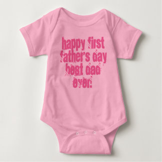 Happy First Father's Day Best Dad Ever Typography Baby Bodysuit