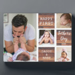 """Happy First Father's Day Wood 4 Photo Collage Plaque<br><div class=""""desc"""">First father's day gift idea -A modern photo plaque with a collage grid created with 4 pictures and message on a trendy Wood  block.</div>"""