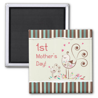 Happy First Mother's Day, Cute Birds on Stripes 2 Inch Square Magnet