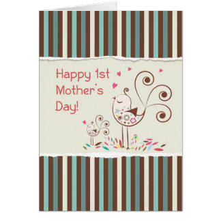 Happy First Mother's Day, Cute Birds on Stripes Card